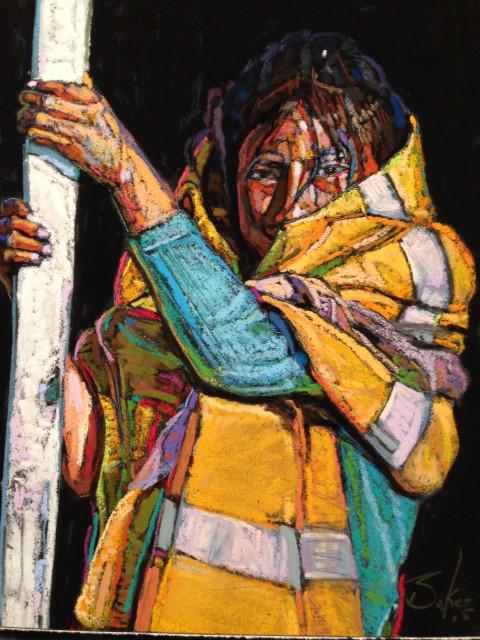 Bill Baker, Hanging On, pastel, 9x8