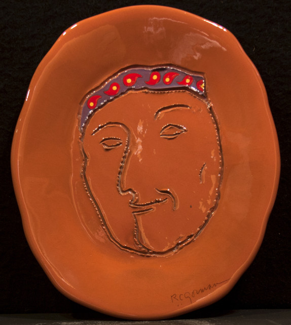 RC Gorman, Self Portrait, Ceramic plate one of a kind, 13 inch diameter