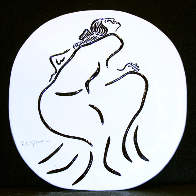 RC Gorman, Untitled, Ceramic white Oval Plate, one of a kind